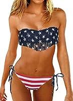 Women Sexy Bikini Set Padded USA Swimwear American Flag Fringe Tassel Swimsuits SML