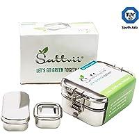 Sattvii® Edelstahl Eco Lunchbox & Brotdose | TÜV geprüft | 4 in 1 | Wiederverwendbarer Meal Prep Container | Umweltfreundliche Essensbox frei von BPA | Plastikfrei