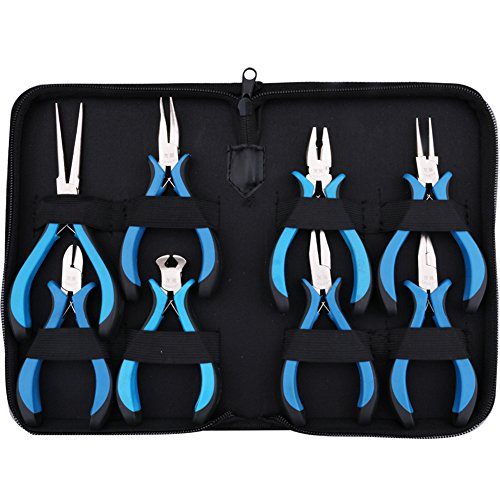 Yeeco 8-Piece Mini Pliers Set with Blue Handle, Linesman Pliers, Diagonal/Curved Bend/Needle Nose/Flat/Sharp Round Nose Jewelry Pliers, Solid Joint End Cutting Cushion Grip Wire Nipper Repair Tool