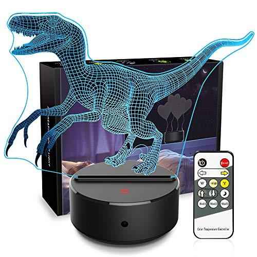 Night Lights for Kids Dinosaur Lamps Kids Night Light 3D Bedside Lamp 7 Colors Change Nightlights Dinosaur Toys with Remote Control Birthday Gifts for Girls Boys Baby (Dinosaur Velociraptor) -