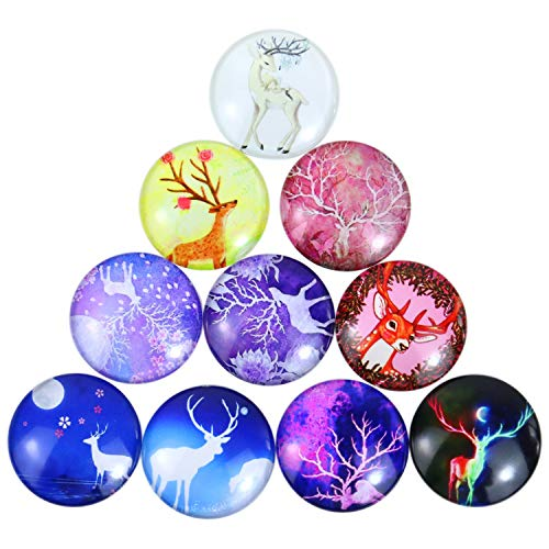 (Monrocco 50pcs 25mm Mixed Color Deer Printed Half Round/Dome Glass Cabochons for Jewelry Making Handcrafts DIY Findings )
