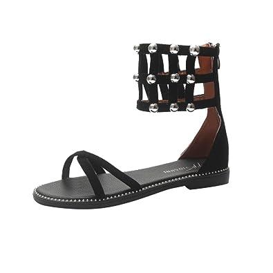 b2c1935de6 Flat Summer Wedge Sandal for Women, Bohemia Boots Rivet Ankle Strap  Flip-Flops Cross