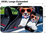 MSD Large Table Mat Non-Slip Natural Rubber Desk Pads Dog Leaning Out The car Window Making a Selfie for The Family Image 30507586 Customized