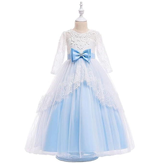 Occ Falda Vestido de Ceremonia Bautizo para Niñas, Vestido para Boda Fiesta de Encaje Floral