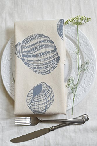 Cloth Dinner Napkins – Set of 4 – Periwinkle Shell Design – Cool Grey – Handmade – Hand-printed – Unpaper Towels