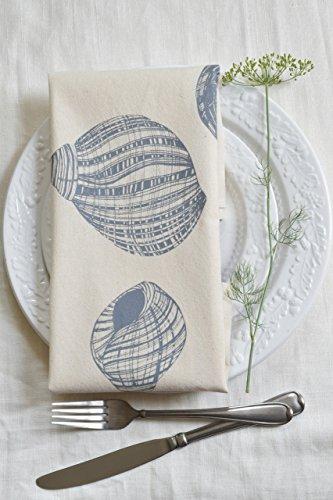 Cloth Dinner Napkins – Set of 4 – Periwinkle Shell Design – Cool Grey – Handmade – Hand-printed – Unpaper Towels
