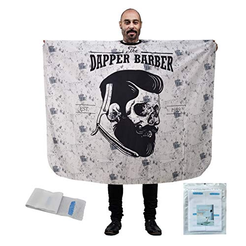 Hair Cutting Cape, Large Waterproof Haircut Apron with Neck Strips, Retro Skull Adjustable Hair Barber Cape for Men, Hairdresser Salon Cape with Snaps white1