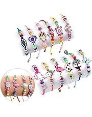 Lorfancy 12 Pcs Kids Girls Women Bracelets Jewelry Animal Pendant Unicorn Owl Cute Women Bracelet Multicolor Rhinestone Woven Friendship Bracelets for Party Favors Pretend Play Bracelets Kids