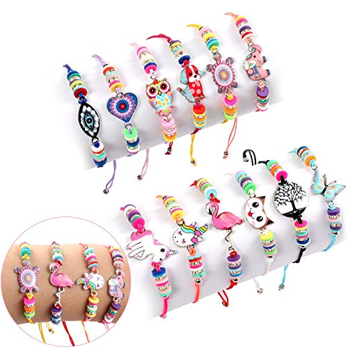 Lorfancy 12 Pcs Kids Girls Women Bracelets Jewelry Animal Pendant Unicorn Owl Cute Bracelet Multicolor Woven Bracelets for Prize Pretend Play Party Favors for Girls Kids Friendship Bracelets