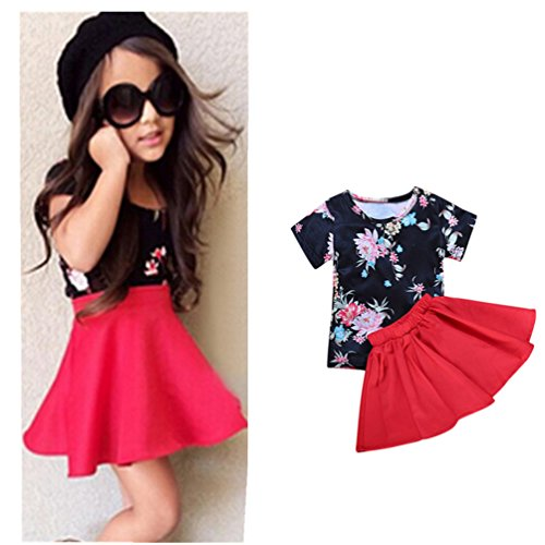 Baby Girls T-shirt Tops+Floral Short Skirt, Franterd Outfit Clothes - Clothes Outfit Shop