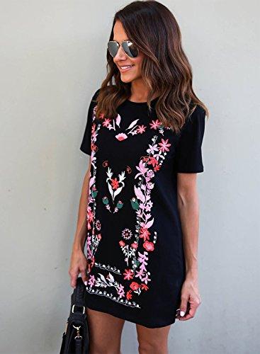 Azbro Mujer Mini Vestido Pullover Bordado Floral con Mangas Cortas Negro