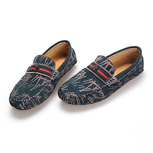 y Mocasín Hombres Cuero Gris los Transpirable de conducción Plana de Cómodo Verano de Zapatos de wFqx8Z7I