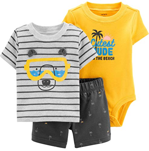 Carter's Baby Boys' 3 Piece Layette Set (Baby) (12 Months, Yellow/Grey/Bear) (Carters 3 Piece Boys)