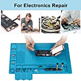 SEASWAL Large Solder Mat, Silicone Heat Resistant 932°F Repair Mat, Tools Parts Organizer Workbench Mat with Magnetic, Idea for Cellphone, Heat Gun, Soldering Station Electronics Repair 17.7''x 11.8''