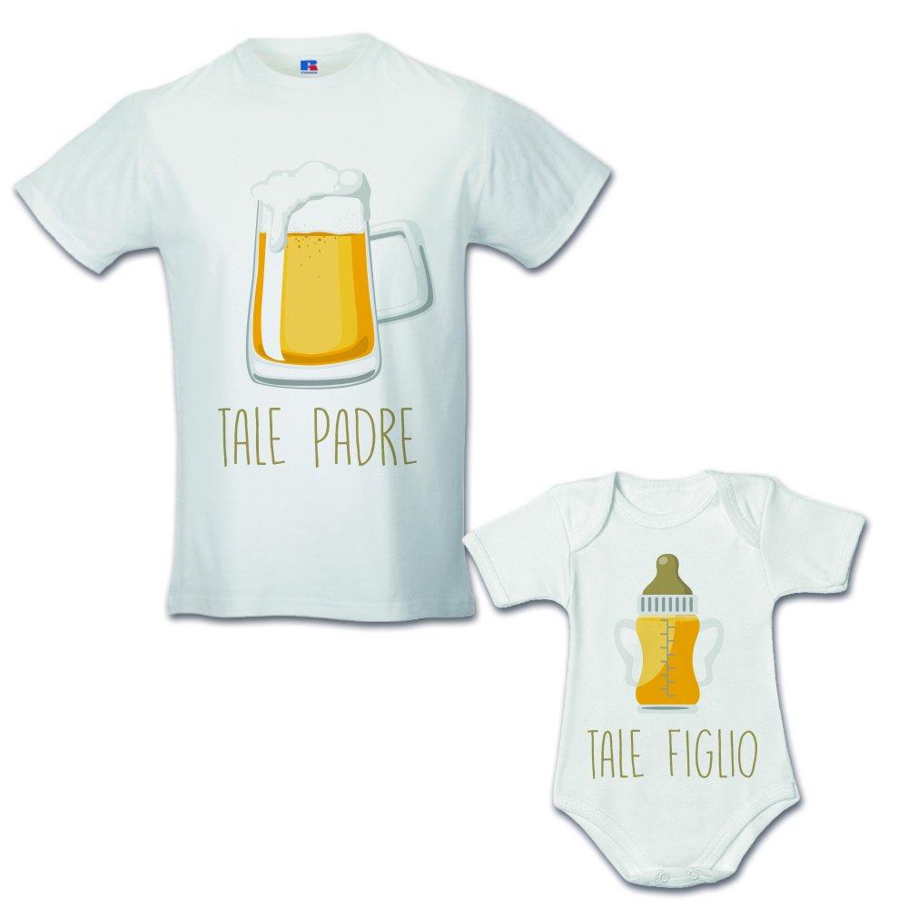 Idea Regalo Coppia di T-Shirt Papa Figlio Tale Padre Tale Figlio Birra