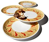 Caleca Chili Peppers 4-Piece Dinner Plate Set, Service for 4
