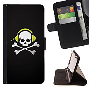 DEVIL CASE - FOR Samsung Galaxy S4 Mini i9190 - Skull Beat Bones - Style PU Leather Case Wallet Flip Stand Flap Closure Cover