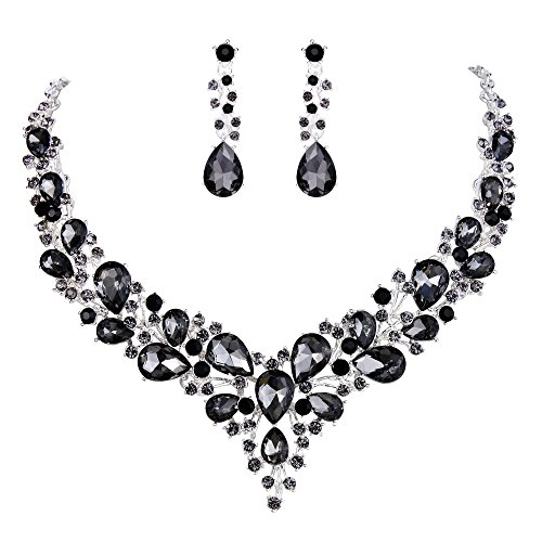 Long Jeweled Dangle - BriLove Wedding Bridal Necklace Earrings Jewelry Set for Women Austrian Crystal Teardrop Cluster Statement Necklace Dangle Earrings Set Grey Black Silver-Tone