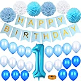 Eokeanon 1st Birthday Boy Decorations Kit, Birthday Party decoration, Including a Blue Happy Birthday Banner, Number One Balloon, Blue - Light Blue - White Balloons, Paper Pom Poms Perfect for First Birthday Decoration Boy