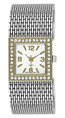 Moulin Women's Square Bangle Watch with Acrylic Rhinestones Two-Tone #17839.76648