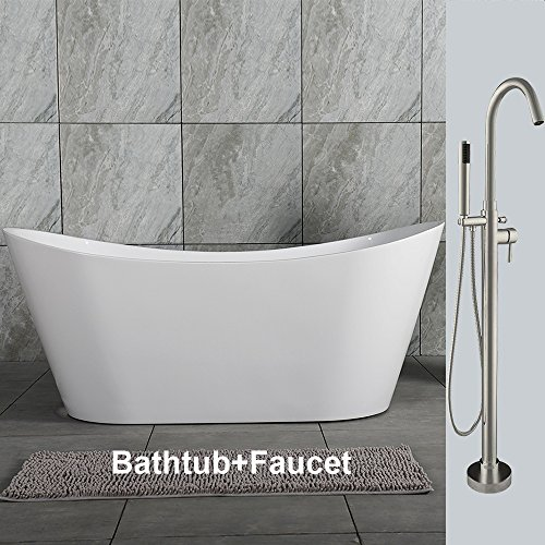 Find Bargain WOODBRIDGE B0011+ F-0001 59 Acrylic Freestanding Bathtub Contemporary Soaking Tub B-00...