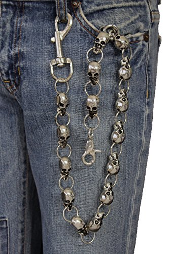 TFJ Men's Extra Long Fashion Wallet Chain Heavy Strong Skulls Silver Metal (Skull Chain)