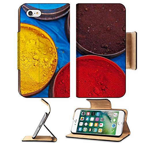 MSD Premium Apple iPhone 7 Flip Pu Leather Wallet Case A market stall near Cuzco Peru South America Tins of multicolored vegetable dyes and paints IMAGE 30506602