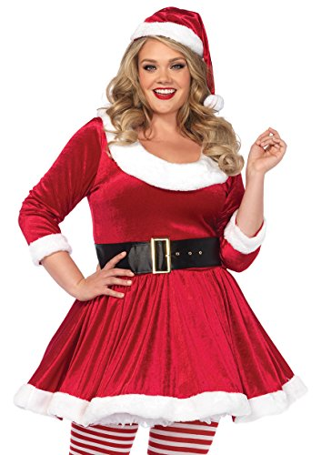 Leg Avenue Women's Plus Size 3PC.Santa Sweetie, Velvet Dress w/Belt, Hat, Red/White, 1X-2X (Velvet Plus Hat Size)