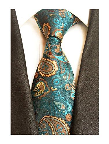 (Men's Handmade Silk Ties Fashion Peacock Green Bronze Wedding Dance Nice Necktie)