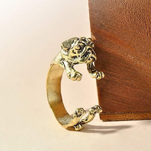 Monowi Cute English Bulldog Dog Animal Pet Ring Wrap Adjustable Vintage Retro Style | Model RNG - 19262 | ()