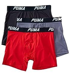 Puma Mens 3PK Tagless Boxer Briefs Red M