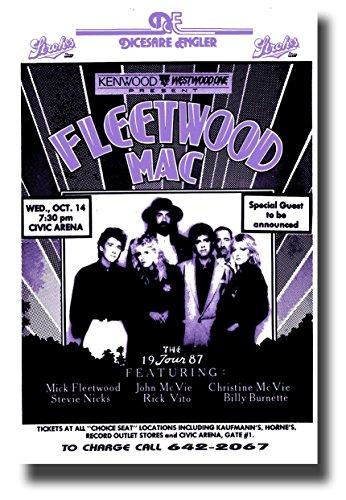 Fleetwood Mac Poster - Fleetwood Mac Poster Concert Promo 11 x 17 inches 1987 Purple