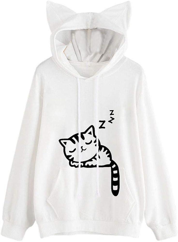 Boomboom 2018 Autumn Women Cat Printed Long Sleeve Hoodies Sweatshirts Tops Blouse