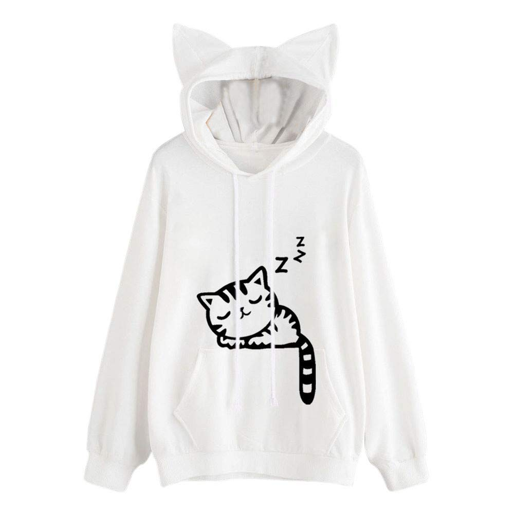 2019 Crewneck Crop Top Sweatshirt,Womens Cat Long Sleeve Hoodie Sweatshirt Hooded Pullover Tops Blouse,White,M