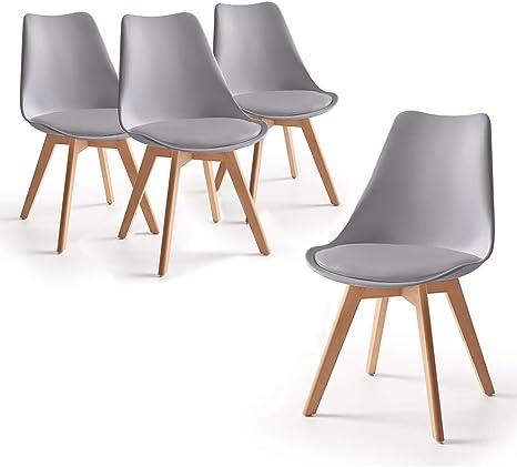 Home Heavenly® - Pack de 4 sillas Comedor, Envio Desde ESPAÑA, Silla diseño nórdico con Asiento Acolchado, TULIPA en Blanco o Gris (Gris): Amazon.es: Hogar