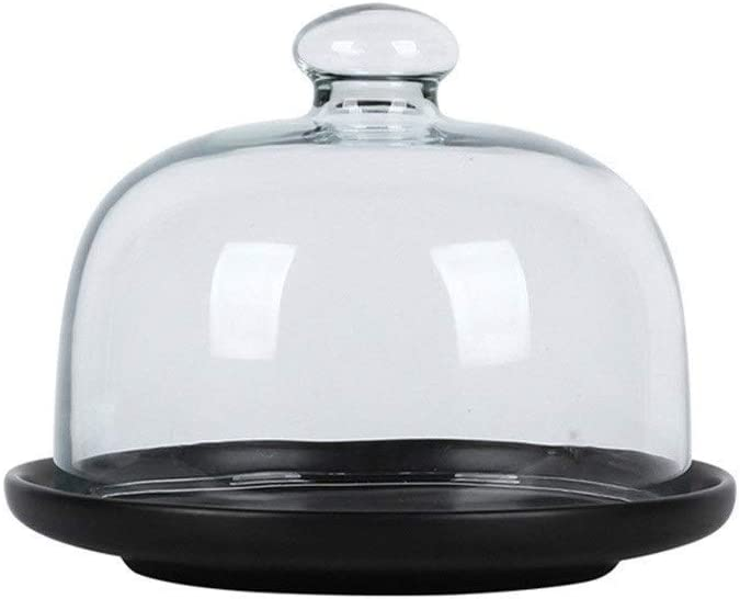 CSQ Plates Chip & Dip Server, Household Round Cake Box Porcelain Serving Platter and Glass Cover Dessert Cheese Dome Bar Fruit Tray 6/8/10Inch Lightweight (Color : Black, Size : 151512CM)