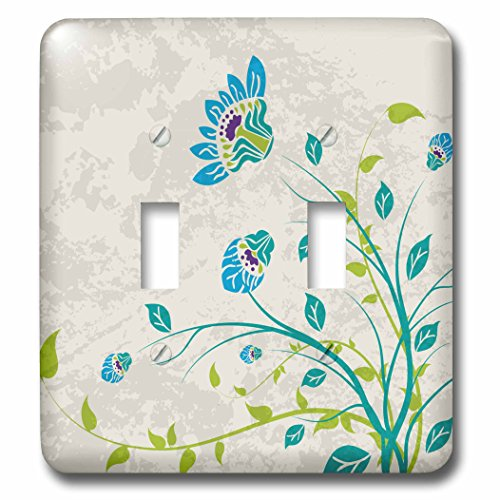 Floral Outlet Cover - 3dRose LLC lsp_119102_2 Lime Green Blue Turquoise and Purple Art Nouveau Style Flowers On Grunge Floral Decorative Nature Double Toggle Switch