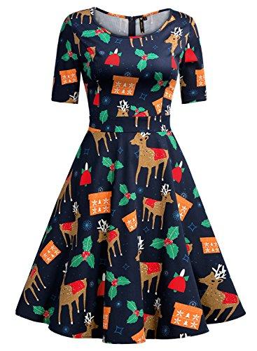 Miusol Women's 1950'S Retro Flare Print Short Sleeve Party Swing Dress,Navy Blue,Small
