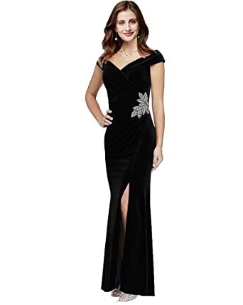 0d79fe5b5d04 Lily Wedding Womens Velvet Off Shoulder Mermaid Prom Dress 2019 Long Slit  Evening Formal Party Ball