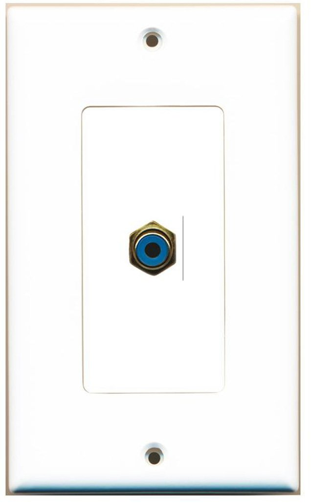 RiteAV - 1 RCA Blue for Subwoofer Audio Port Wall Plate Decorative - White