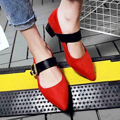 Easemax Femmes Élégantes Boucles De Sangles Faux Suède Bout Pointu Bas Haut Mi Chunky Talon Pompes Chaussures Rouge