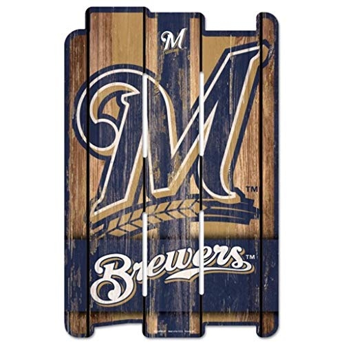 (Wincraft MLB Milwaukee Brewers Wood Fence Sign, Black)
