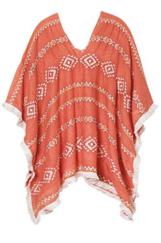 ScarvesMe Aztec Pattern Fringe Wrap (Coral) (Aztec Pattern Shirt)