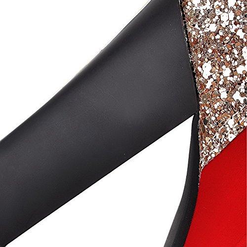 AgooLar Damen Reißverschluss Hoher Absatz Eingelegt Niedrig-Spitze Stiefel mit Paillette Rot