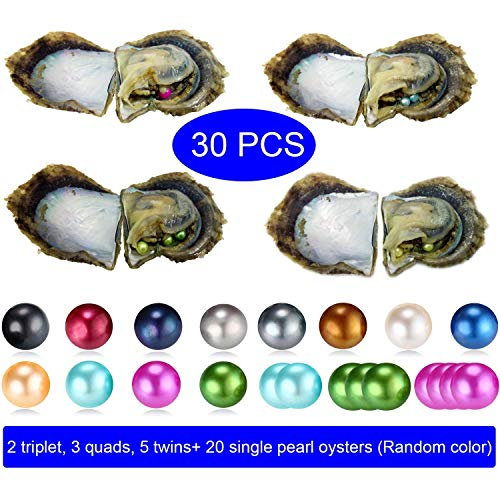 HENGSHENG 30 PCS Love Wish Akoya Saltwater Pearl Oysters Mixed Color Single Twins Triplet Quads 6-8 mm Nearly Round Pearls Inside