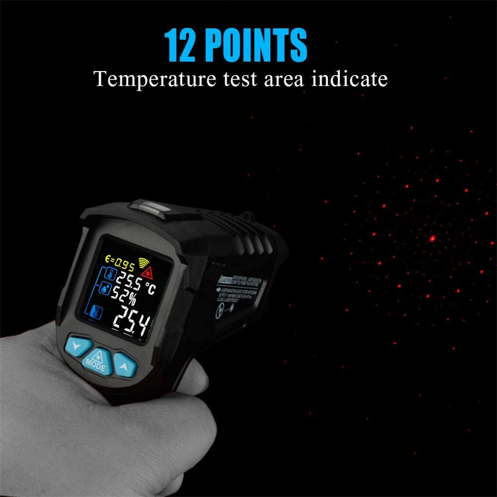 50~800 ℃ Gtest Non-Contact Infrared Digital Thermometer Humidity Meter Indicate Temperature Humidity Meter Pyrometer Color LCD Display