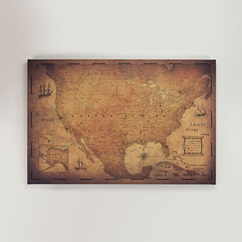 USA Travel Map Pin Board - Golden Aged - Made in Ohio, -