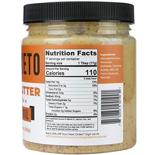 Keto Nut Butter Fat Bomb [Crunchy] - 10 Oz - Macadamia Low Carb Nut Butter Blend (1 net carb), Keto Almond Butter with MCT Oil, Left Coast Performance 2