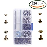 #7: Anpatio 120pcs Double Cap Leather Rivets Brass Beginners Tubular Metal Studs Repair Tool Kit for Handbags Jeans Wallets Shoes Cases Clothes Leather Craft DIY Decoration