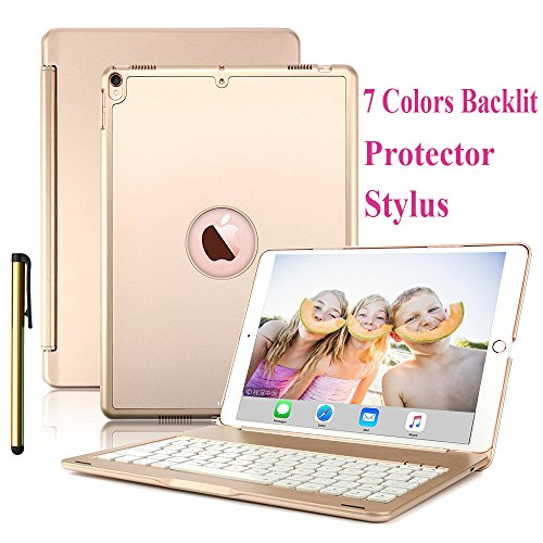 Pro Aluminum Hard Case (Daphnee ipad pro 10.5 keyboard case,new protective bluetooth keyboard case aluminum hard shell smart cover with 7 Colors backlit keyboard,auto sleep/wake for apple ipad pro 10.5 2017(A1701/A1709)gold)